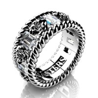 Mens 14K White Gold 3.0 Ctw White Sapphire Rose and Rope Wedding Ring R1018M-14KWGWS