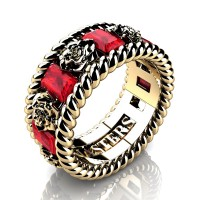 Mens 14K Yellow Gold 3.0 Ctw Ruby Rose and Rope Wedding Ring R1018M-14KYGR