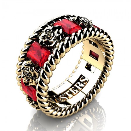 Mens-14K-Yellow-Gold-3-Ct-Emerald-Cut-Ruby-Rose-Rope-Wedding-Ring-R1018-14KYGR-P