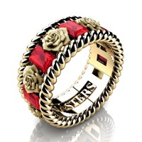 Mens 14K Yellow Gold 3.0 Ctw Ruby Rose and Rope Wedding Ring R1018M-14KYGSR