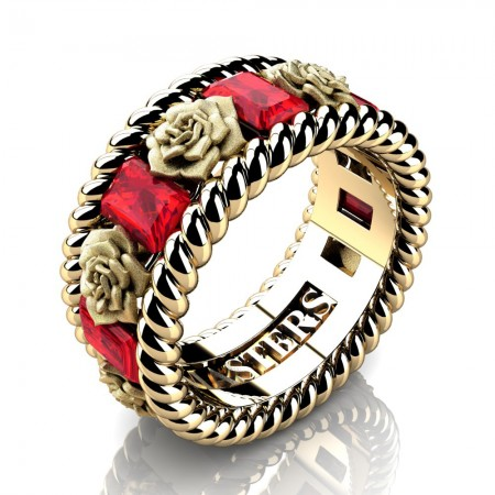 Mens-14K-Yellow-Gold-3-Ct-Emerald-Cut-Ruby-Rose-Rope-Wedding-Ring-R1018-14KYGSR-P