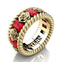 Mens 14K Yellow Gold 3.0 Ctw Ruby Rose and Rope Wedding Ring R1018M-14KYGSSR
