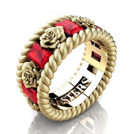 Mens-14K-Yellow-Gold-3-Ct-Emerald-Cut-Ruby-Rose-Rope-Wedding-Ring-R1018-14KYGSSR-P