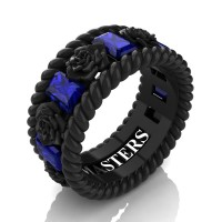 Mens 14K Black Gold 3.0 Ctw Blue Sapphire Rose and Rope Wedding Ring R1018M-14KBGBS