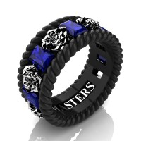 Mens 14K Black Gold 3.0 Ctw Blue Sapphire Rose and Rope Wedding Ring R1018M-14KBWGBS