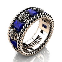 Mens 14K Rose Gold 3.0 Ctw Blue Sapphire Rose and Rope Wedding Ring R1018M-14KRGBS