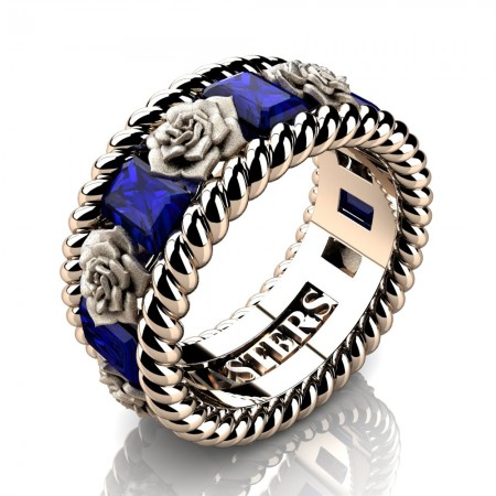 Mens-Italian-14K-Rose-Gold-3-Ct-Emerald-Cut-Blue-Sapphire-Rose-Rope-Wedding-Ring-R1018-14KRGSBS-P