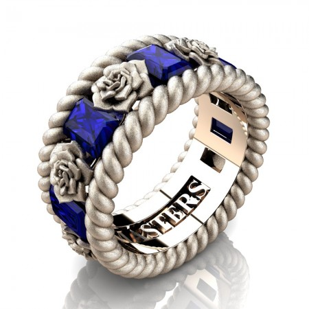 Mens-Italian-14K-Rose-Gold-3-Ct-Emerald-Cut-Blue-Sapphire-Rose-Rope-Wedding-Ring-R1018-14KRSSGBS-P