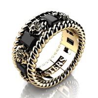 Mens 14K Yellow Gold 3.0 Ctw Black Diamond Rose and Rope Wedding Ring R1018M-14KYGBD
