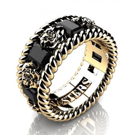 Mens-Italian-14K-Yellow-Gold-3-Ct-Emerald-Cut-Black-Diamond-Rose-Rope-Wedding-Ring-R1018-14KYGBD-P