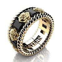 Mens 14K Yellow Gold 3.0 Ctw Black Diamond Rose and Rope Wedding Ring R1018M-14KYGSBD