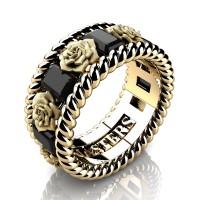 Mens 14K Yellow Gold 3.0 Ctw Black Diamond Rose and Rope Wedding Ring R1018M-14KYGSBD