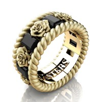 Mens 14K Yellow Gold 3.0 Ctw Black Diamond Rose and Rope Wedding Ring R1018M-14KYGSSBD