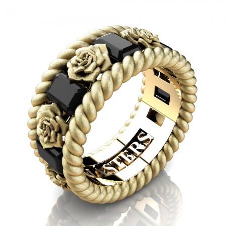 Mens-Italian-14K-Yellow-Gold-3-Ct-Emerald-Cut-Black-Diamond-Rose-Rope-Wedding-Ring-R1018-14KYGSSBD-P