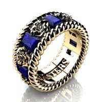 Mens 14K Yellow Gold 3.0 Ctw Blue Sapphire Rose and Rope Wedding Ring R1018M-14KYGBS