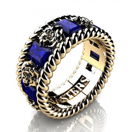 Mens-Italian-14K-Yellow-Gold-3-Ct-Emerald-Cut-Blue-Sapphire-Rose-Rope-Wedding-Ring-R1018-14KYGBS-P2