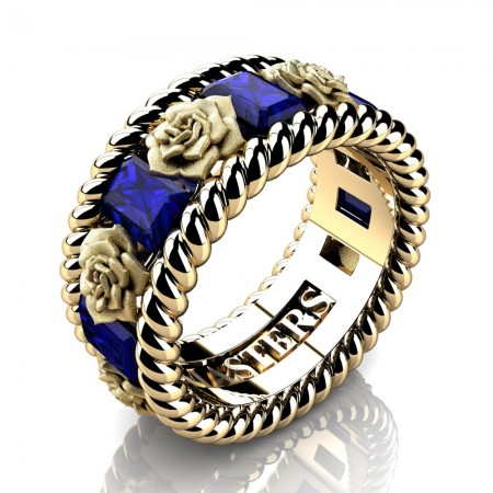 Mens-Italian-14K-Yellow-Gold-3-Ct-Emerald-Cut-Blue-Sapphire-Rose-Rope-Wedding-Ring-R1018-14KYGSBS-P2