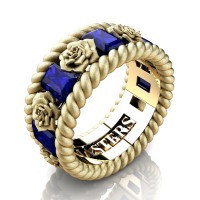 Mens 14K Yellow Gold 3.0 Ctw Blue Sapphire Rose and Rope Wedding Ring R1018M-14KYGSSBS