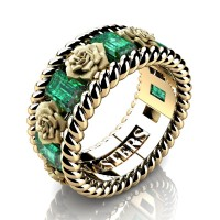 Mens 14K Yellow Gold 3.0 Ctw Emerald Rose and Rope Wedding Ring R1018M-14KYGSEM