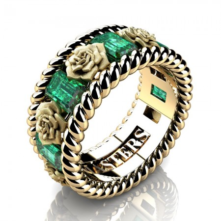 Mens-Italian-14K-Yellow-Gold-3-Ct-Emerald-Cut-Emerald-Rose-Rope-Wedding-Ring-R1018-14KYGSEM-P