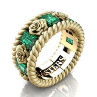 Mens 14K Yellow Gold 3.0 Ctw Emerald Rose and Rope Wedding Ring R1018M-14KYGSSEM