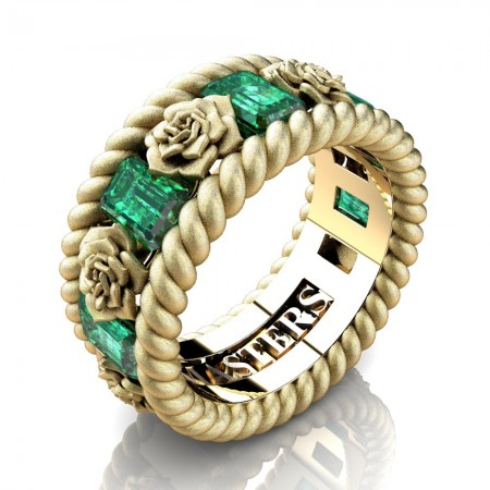 Mens-Italian-14K-Yellow-Gold-3-Ct-Emerald-Cut-Emerald-Rose-Rope-Wedding-Ring-R1018-14KYGSSEM-P