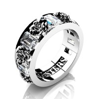 Womens Modern 14K White Gold 1.5 Ctw White Sapphire Rose Wedding Ring R1017F-14KWGWS