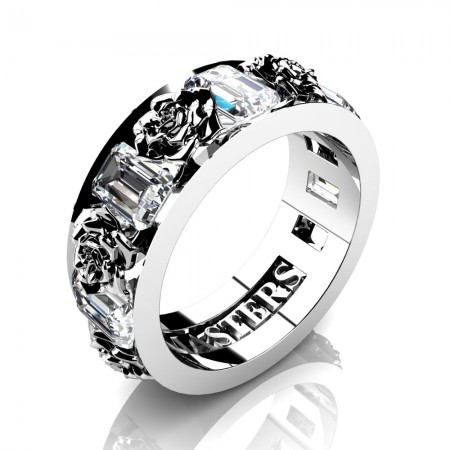 Mens-Modern-14K-White-Gold-3-Ct-Emerald-Cut-White-Sapphire-Rose-Rope-Wedding-Ring-R1017-14KWGWS-P