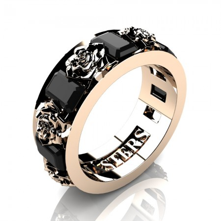 Womens-14K-Rose-Gold-15-Ct-Emerald-Cut-Black-Sapphire-Rose-Rope-Wedding-Ring-R1017-14KRGBLS-P