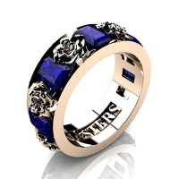 Womens Modern 14K Rose Gold 1.5 Ctw Blue Sapphire Rose Wedding Ring R1017F-14KRGBS