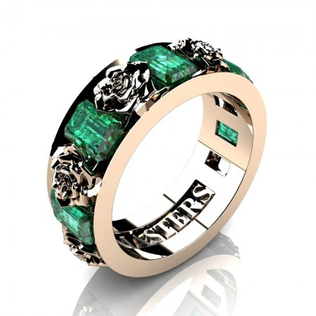Womens-14K-Rose-Gold-15-Ct-Emerald-Cut-Emerald-Rose-Rope-Wedding-Ring-R1017-14KRGEM-P