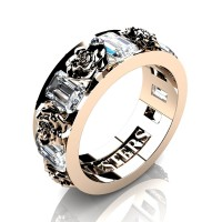 Womens Modern 14K Rose Gold 1.5 Ctw White Sapphire Rose Wedding Ring R1017F-14KRGWS