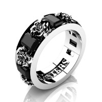 Womens Modern 14K White Gold 1.5 Ctw Black Diamond Rose Wedding Ring R1017F-14KWGBD