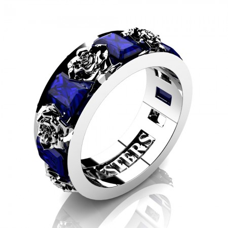 Womens-14K-White-Gold-15-Ct-Emerald-Cut-Blue-Sapphire-Rose-Rope-Wedding-Ring-R1017-14KWGBS-P