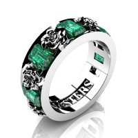 Womens Modern 14K White Gold 1.5 Ctw Emerald Rose Wedding Ring R1017F-14KWGEM