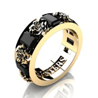 Womens Modern 14K Yellow Gold 1.5 Ctw Black Diamond Rose Wedding Ring R1017F-14KYGBD