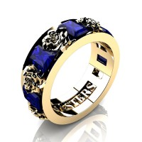 Womens Modern 14K Yellow Gold 1.5 Ctw Blue Sapphire Rose Wedding Ring R1017F-14KYGBS