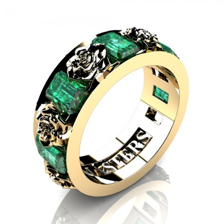 Womens-14K-Yellow-Gold-15-Ct-Emerald-Cut-Emerald-Rose-Rope-Wedding-Ring-R1017-14KYGEM-P