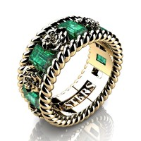 Womens 14K Yellow Gold 1.5 Ctw Emerald Rose and Rope Wedding Ring R1018F-14KYGEM