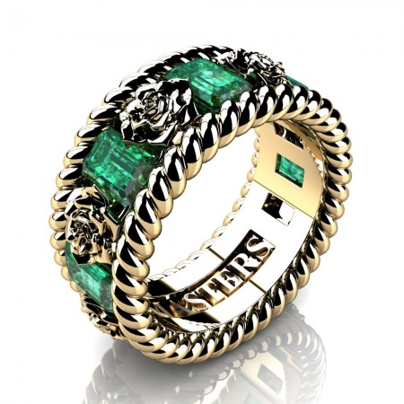 Womens-14K-Yellow-Gold-15-Ct-Emerald-Cut-Emerald-Rose-Rope-Wedding-Ring-R1018-14KYGEM-P