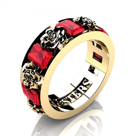 Womens-14K-Yellow-Gold-15-Ct-Emerald-Cut-Ruby-Rose-Rope-Wedding-Ring-R1017-14KYGR-P