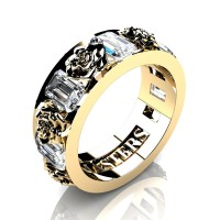 Womens Modern 14K Yellow Gold 1.5 Ctw White Sapphire Rose Wedding Ring R1017F-14KYGWS