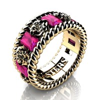 Womens 14K Yellow Gold 1.5 Ctw Pink Sapphire Rose and Rope Wedding Ring R1018F-14KYGPS