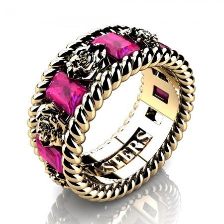Womens-Italian-14K-Yellow-Gold-15-Ct-Emerald-Cut-Pink-Sapphire-Rose-Rope-Wedding-Ring-R1018-14KYGPS-P