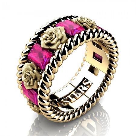 Womens-Italian-14K-Yellow-Gold-15-Ct-Emerald-Cut-Pink-Sapphire-Rose-Rope-Wedding-Ring-R1018-14KYGSPS-P