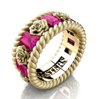 Womens 14K Yellow Gold 1.5 Ctw Pink Sapphire Rose and Rope Wedding Ring R1018F-14KYGSSPS