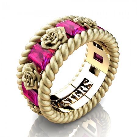 Womens-Italian-14K-Yellow-Gold-15-Ct-Emerald-Cut-Pink-Sapphire-Rose-Rope-Wedding-Ring-R1018-14KYGSSPS-P