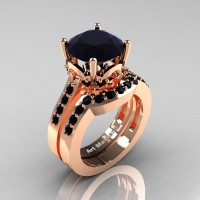 Classic 14K Rose Gold 3.0 Carat Black Diamond Solitaire Wedding Ring Set R301S-14KRGBD