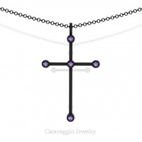 Art Masters Caravaggio 14K Black Gold 0.15 Ct Amethyst Cross Pendant Necklace 16 Inch Chain C623-14KBGAM