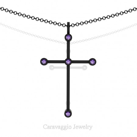 Art-Masters-Caravaggio-14K-Black-Gold-0.15-Ct-Amethyst-Cross-Pendant-Necklace-16-Chain-C623-14KBGAM-X